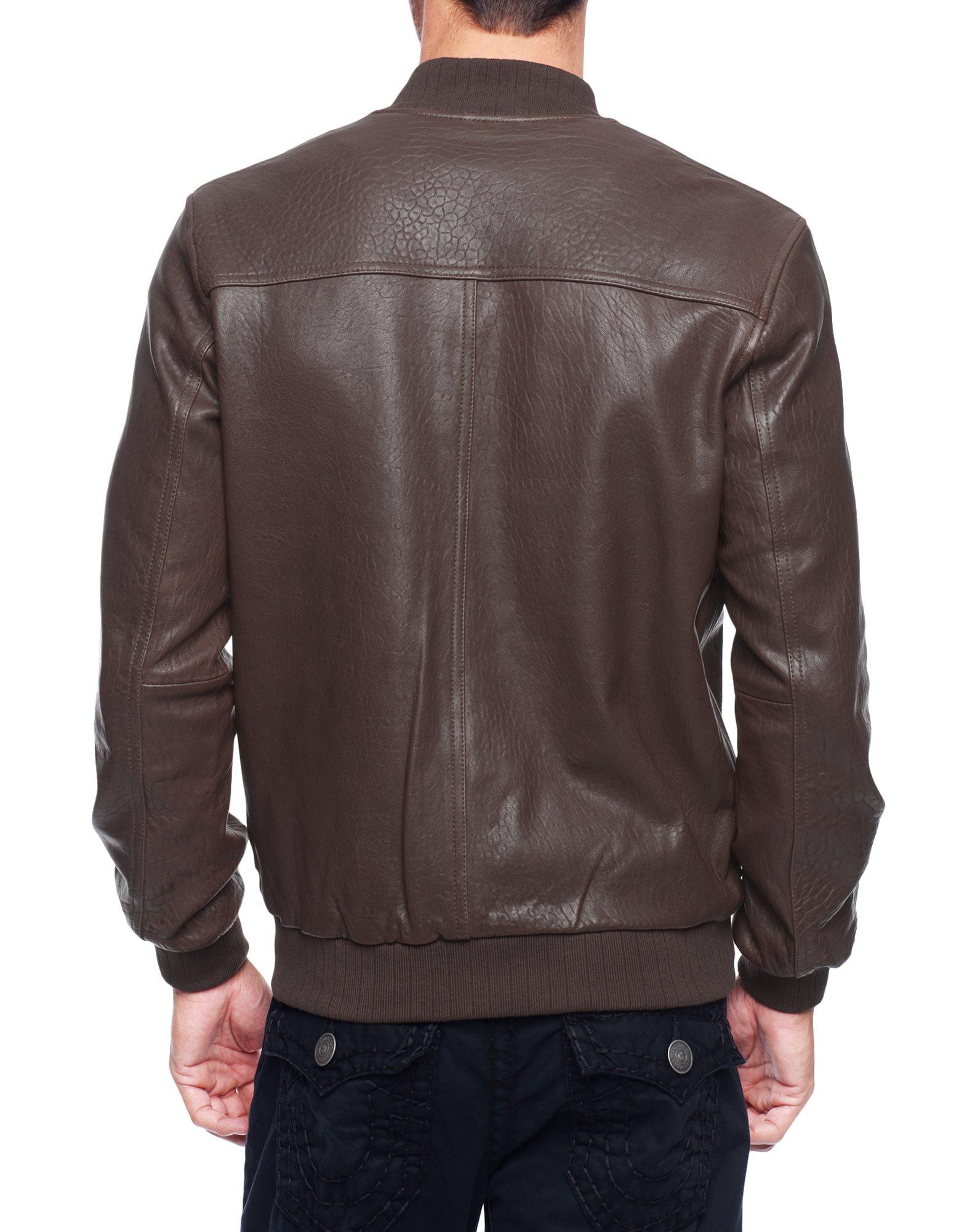 True religion Leather Baseball Mens Bomber Jacket in Brown for Men ...