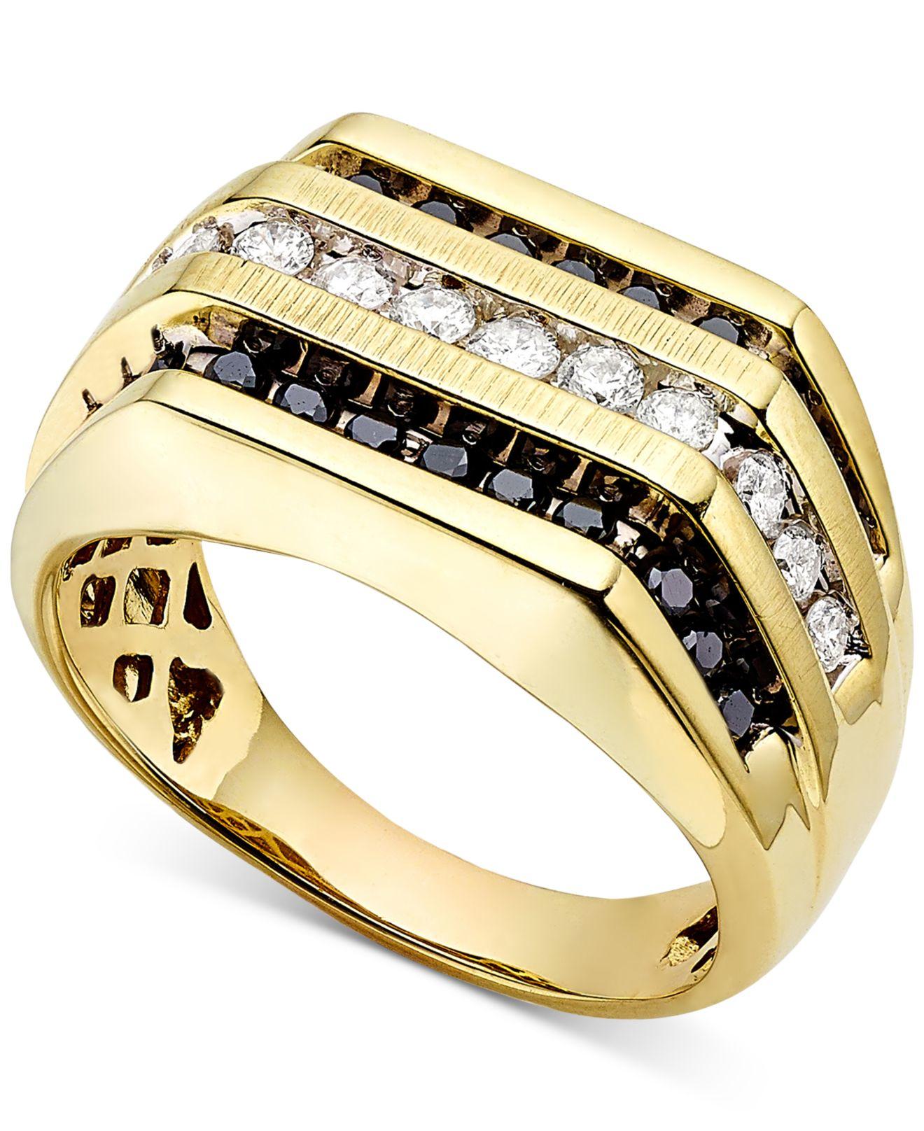 Macys Mens Wedding Rings: Macy's Men's White And Black Diamond (1 Ct. T.w.) Ring In