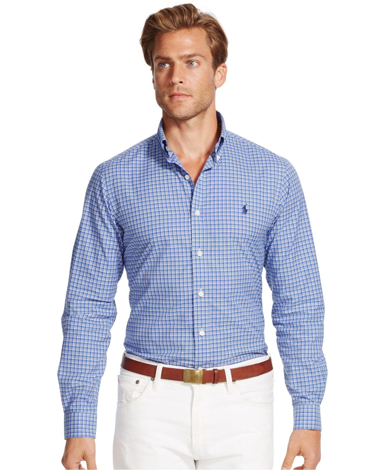 b11f06eb1be Lyst - Polo Ralph Lauren Checked Poplin Shirt in Blue for Men