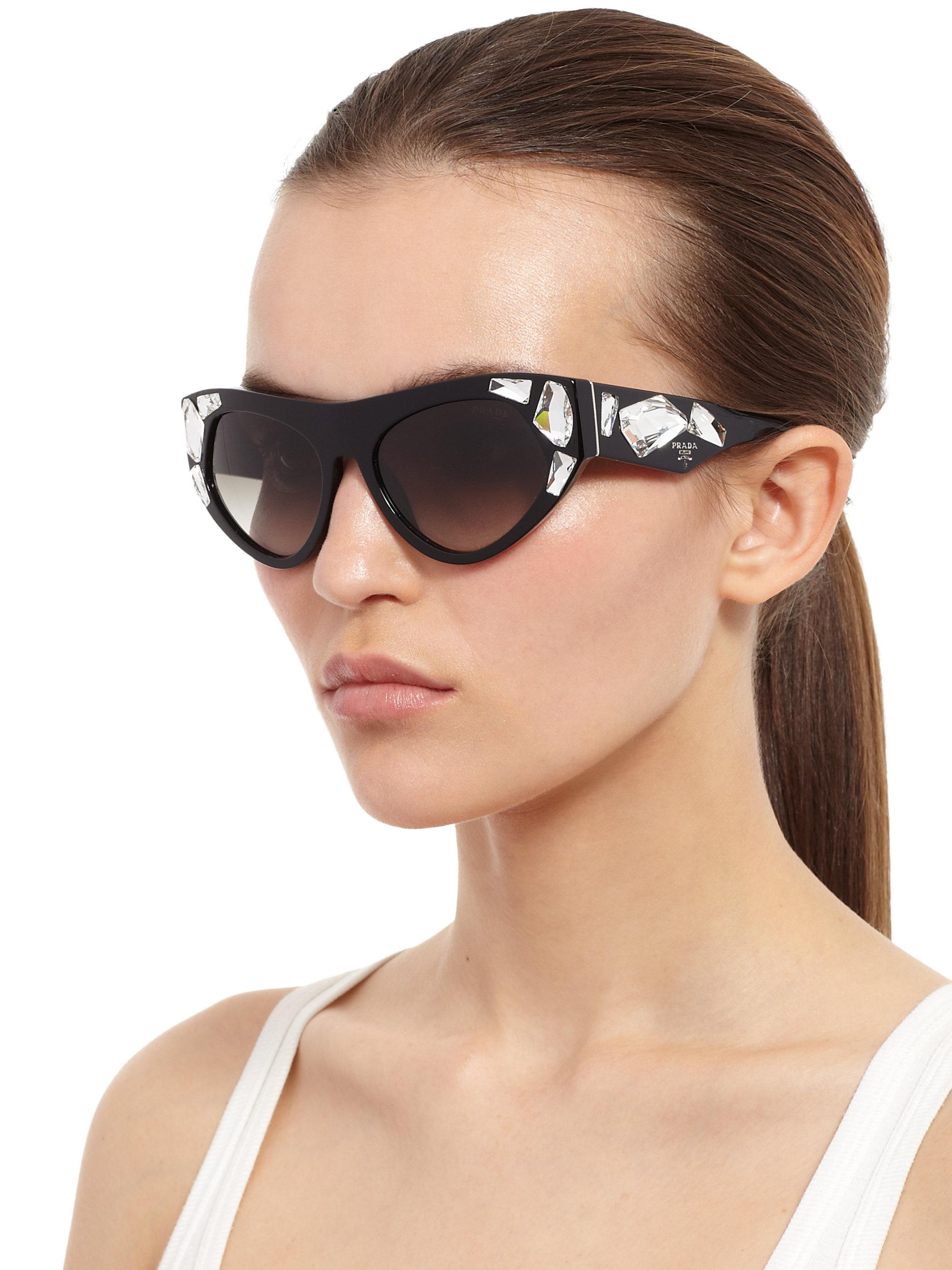 0500f5bd0044 Lyst - Prada Oversized Embellished Sunglasses in Black