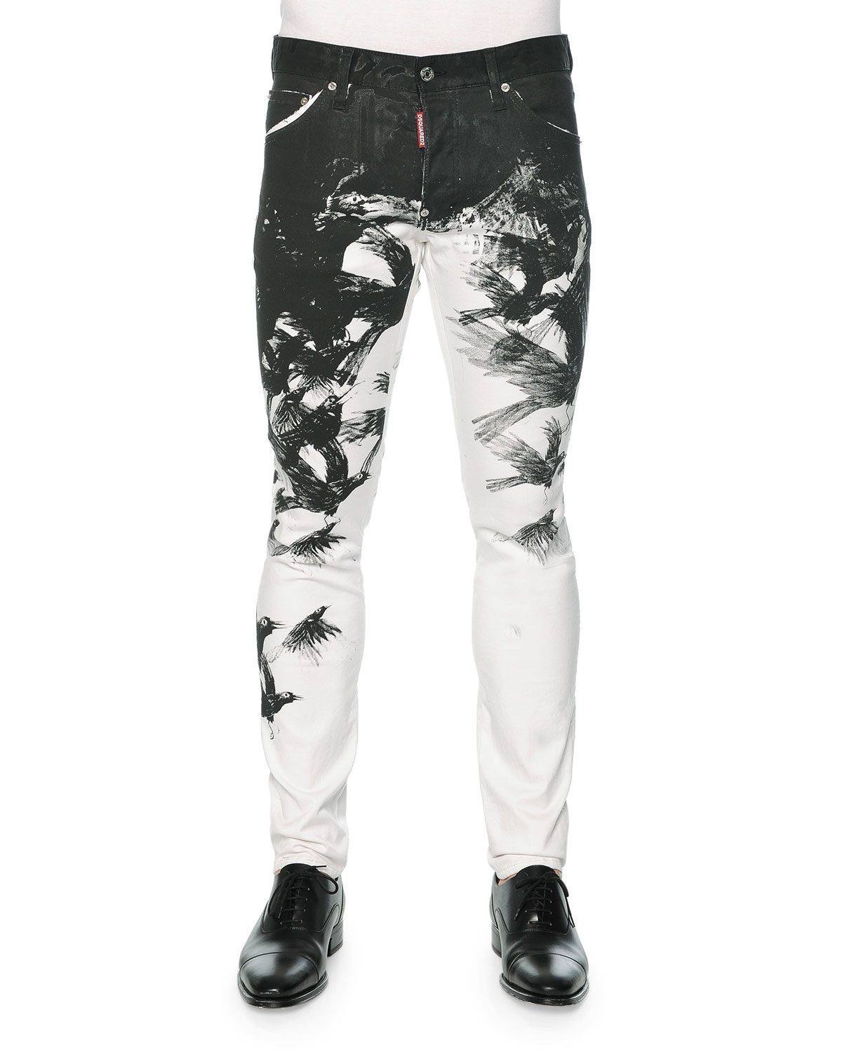 Dsquared² Cool Guy Crow-print Skinny Jeans in Gray for Men | Lyst