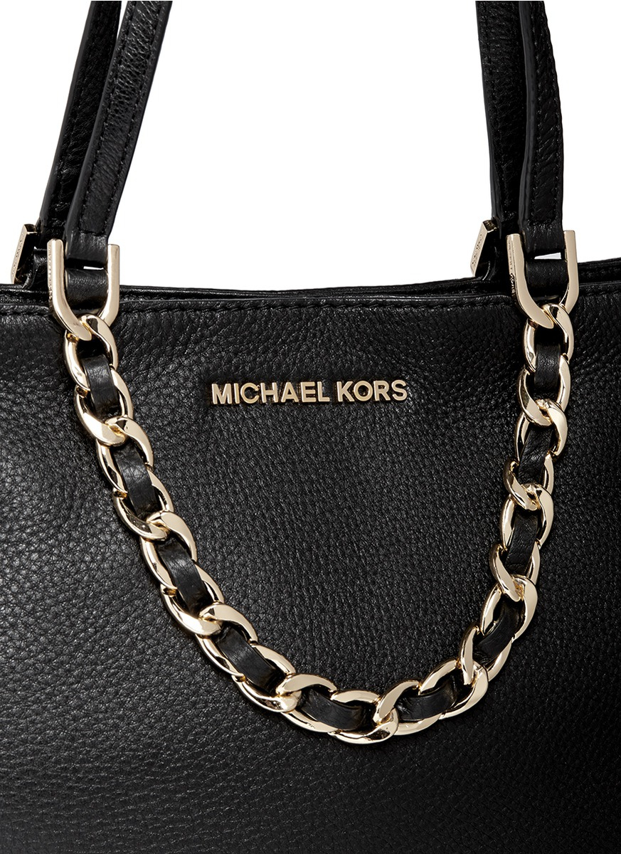 1e6fdbc0c312 ... official store lyst michael kors harper medium chain leather tote in  black 50d86 085cb