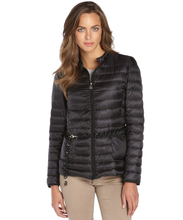 Moncler Black Quilted Zip Front Dalila Belted Down Jacket in Black ...