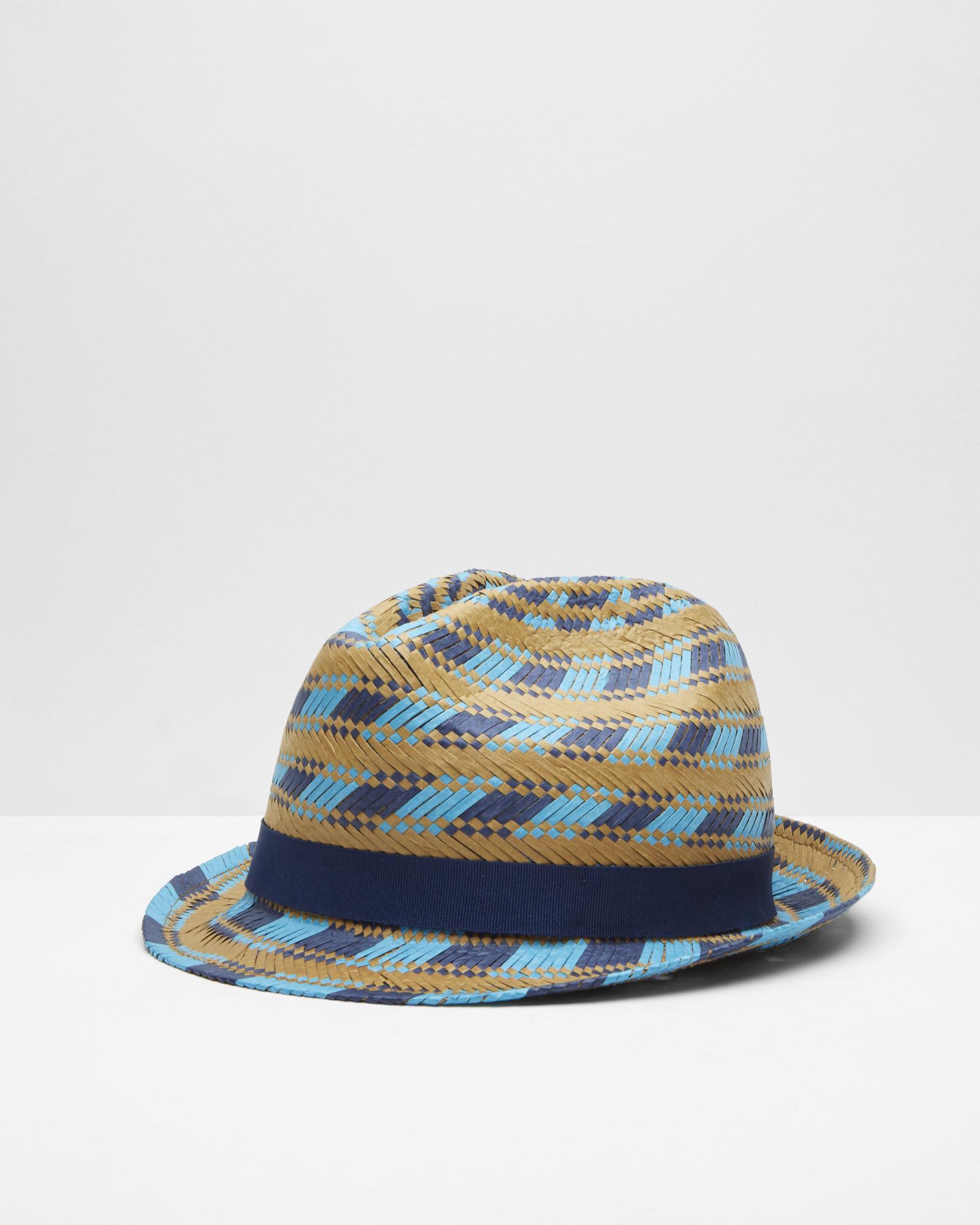 e56de434c8bd2 Ted Baker Multi-coloured Straw Trilby Hat in Natural for Men - Lyst