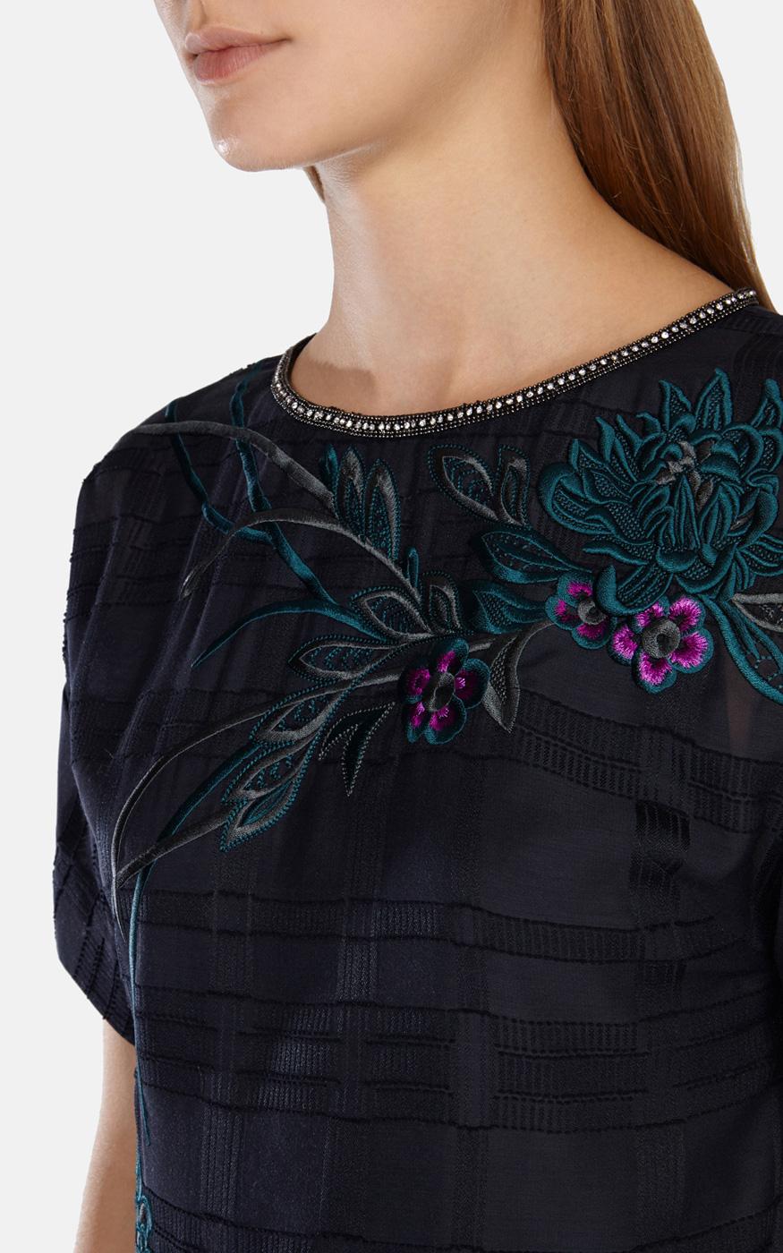 Lyst karen millen oriental embroidery t shirt dress in blue for Dress shirt monogram placement