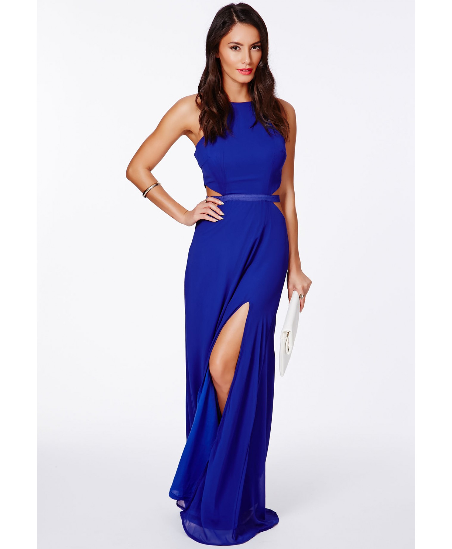 Lyst - Missguided Anthea Cut Out Split Maxi Dress In Cobalt Blue in Blue