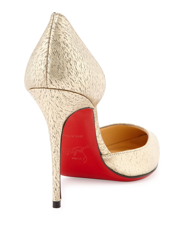 mens replica christian louboutin shoes - Christian louboutin Iriza Animal-Print Metallic half D'Orsay Pumps ...