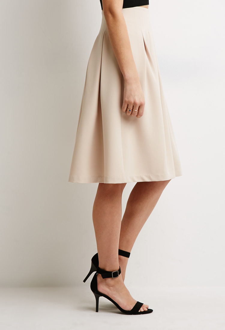 Forever 21 Box Pleat A-line Skirt in Natural | Lyst