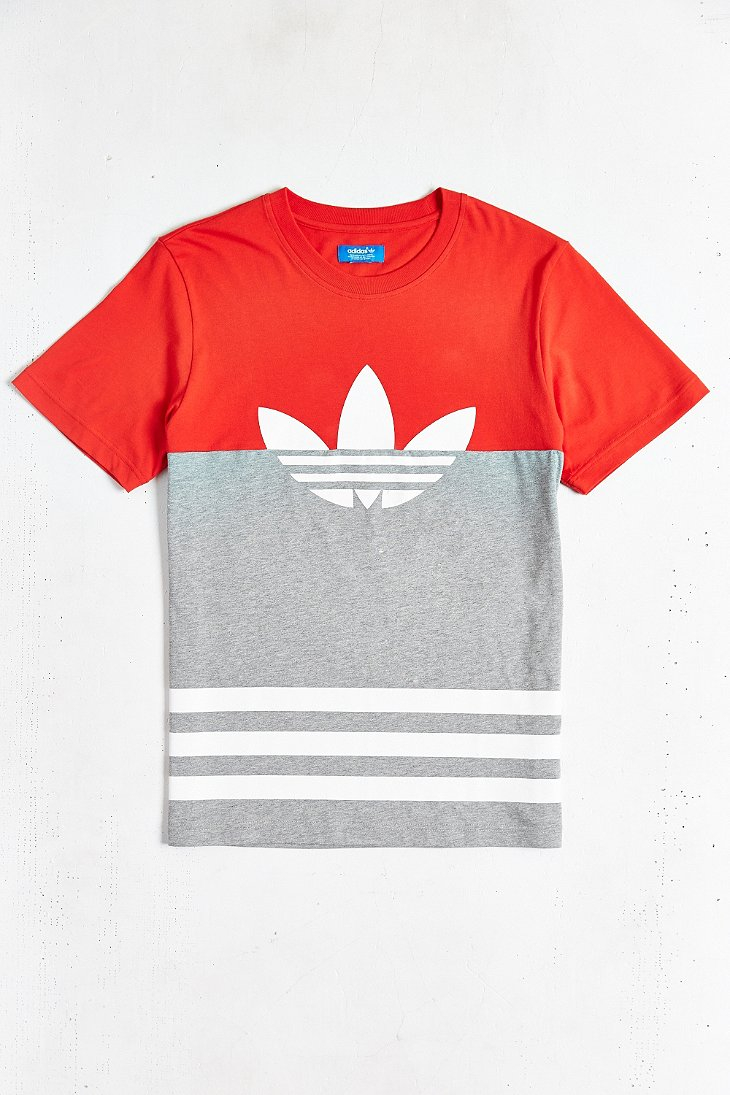 adidas originals colorblock trefoil tee in orange for men. Black Bedroom Furniture Sets. Home Design Ideas