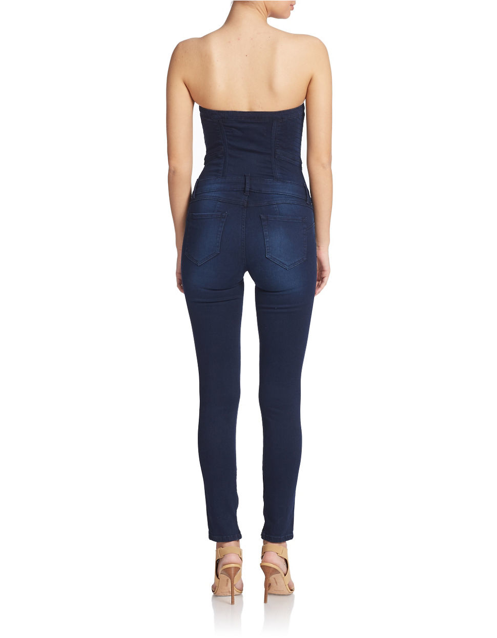 Guess Strapless Denim Jumpsuit in Blue | Lyst