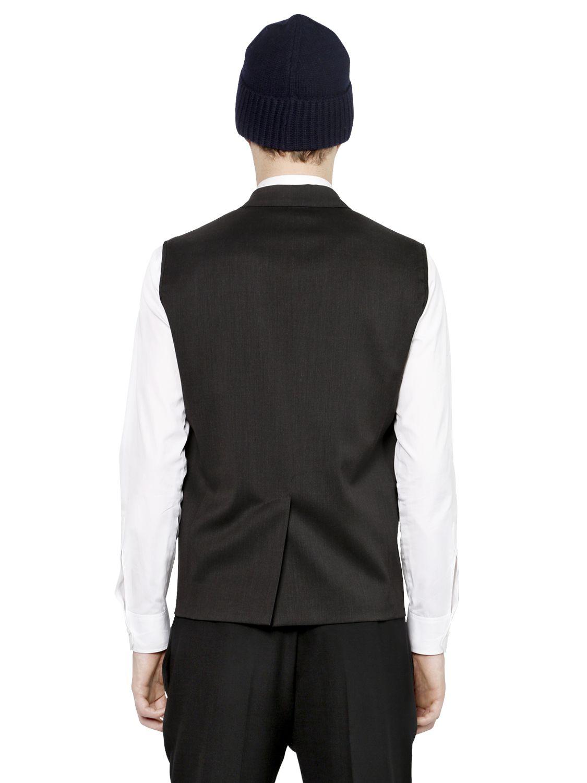 f01a59dae9 Lyst - DSquared² Wool Vest W/ Detachable Nylon Jacket in Orange for Men