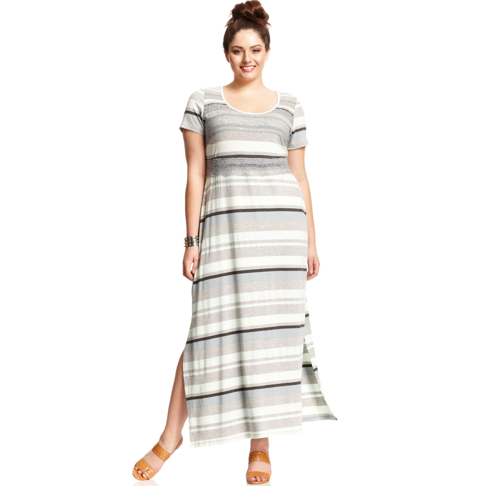 Jessica simpson Plus Size Shortsleeve Striped Maxi Dress in Blue ...