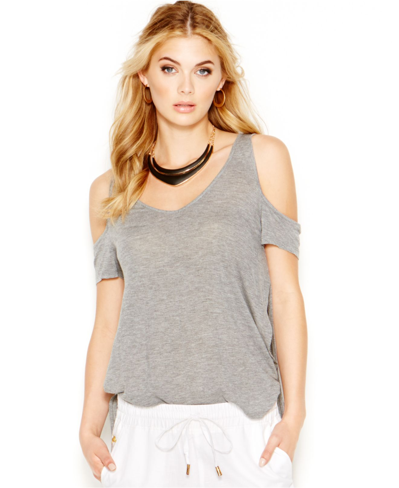 5ee3dff38b83b Lyst - Guess Cold-Shoulder Short-Sleeve Top in Gray