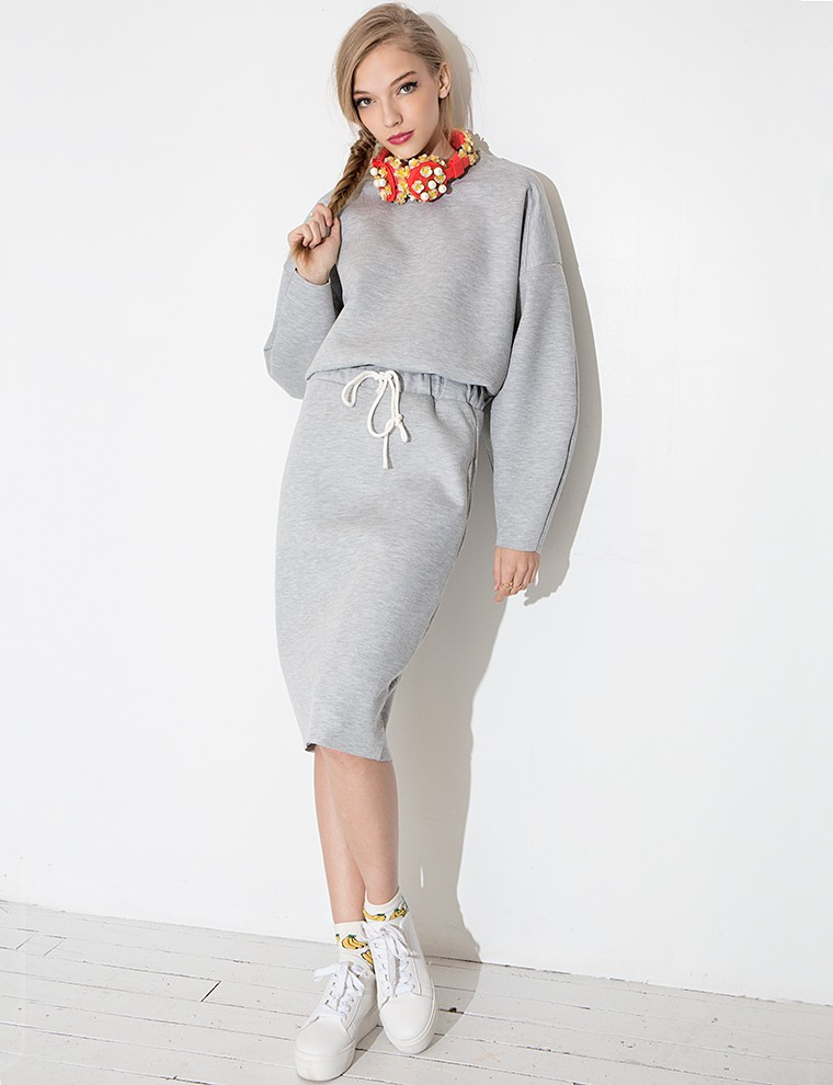 Lyst - Pixie Market Sweatshirt Skirt Match Set in Gray