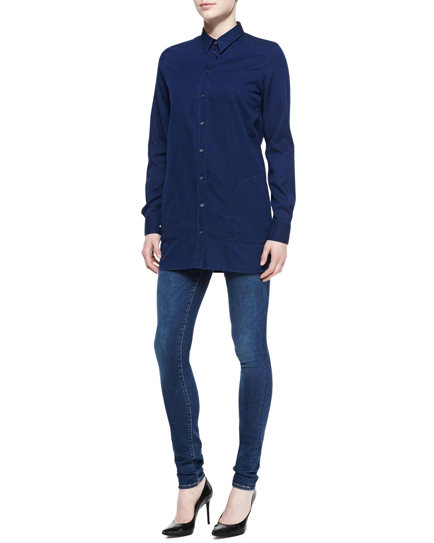 Acne Lyric Denim Button Up Shirt In Blue Medium Denim Lyst