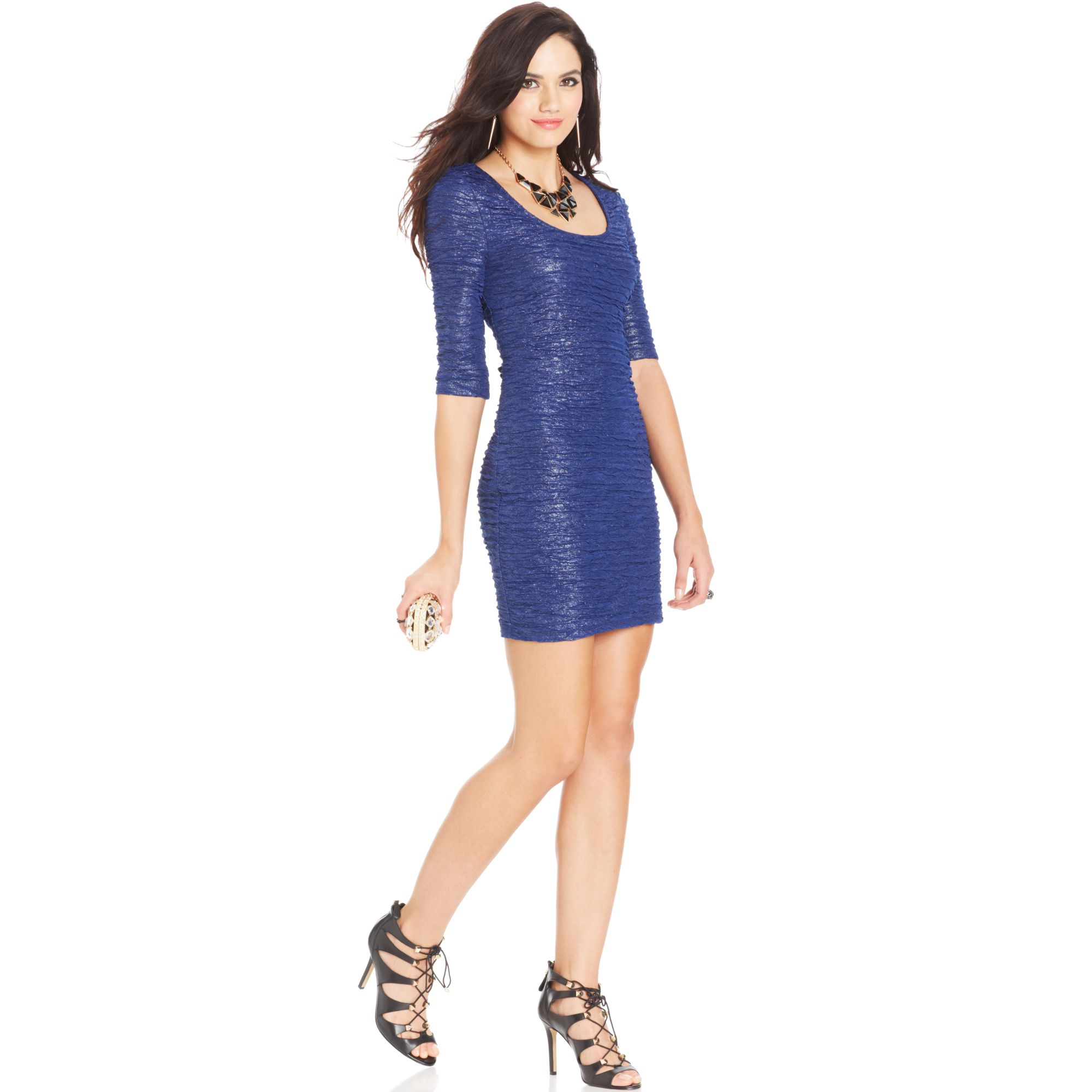 Material girl Juniors Crinkled Metallic Dress in Blue   Lyst