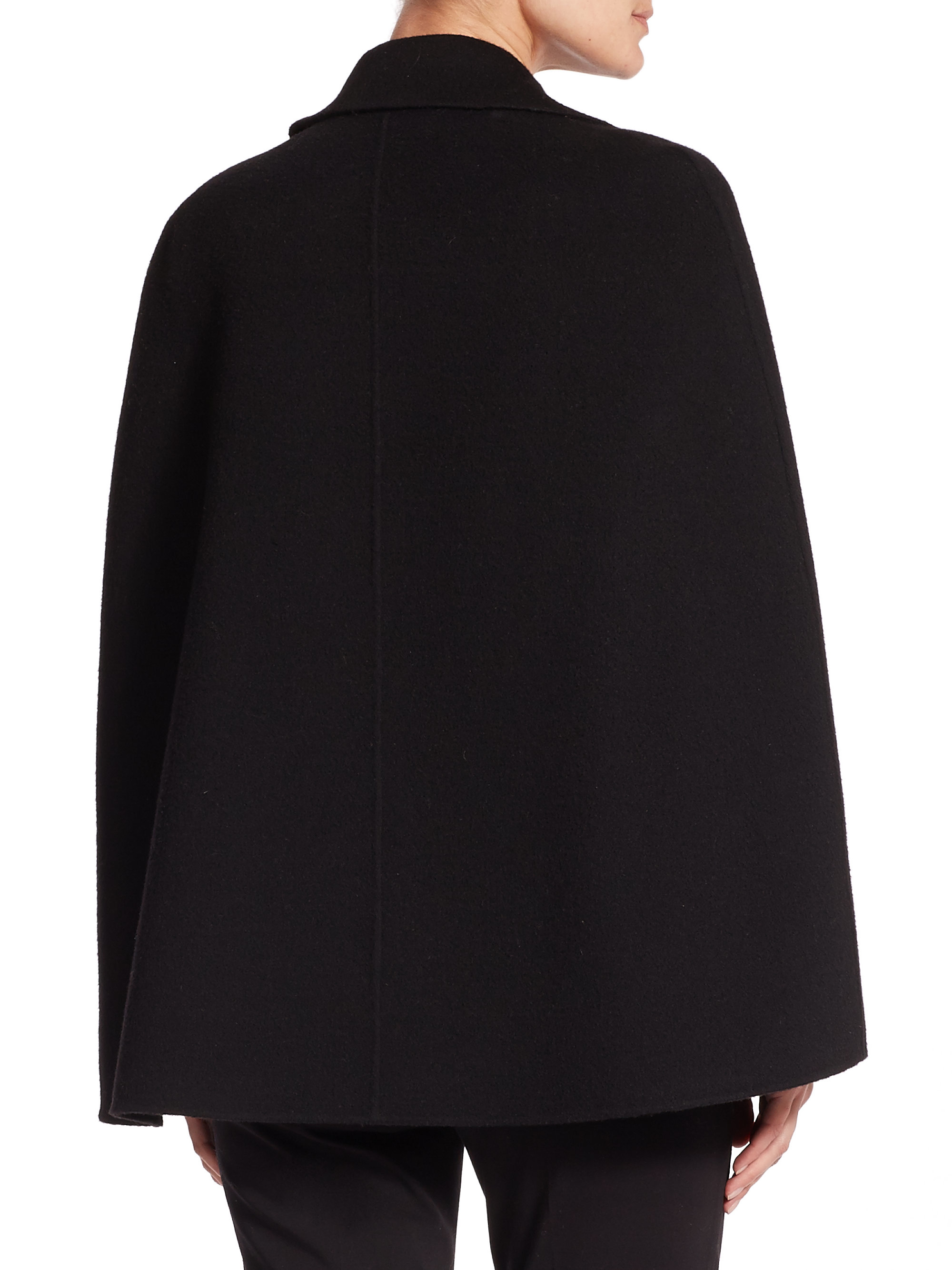 Lyst Theory Kapalin Double Face Wool Cashmere Cape In Black
