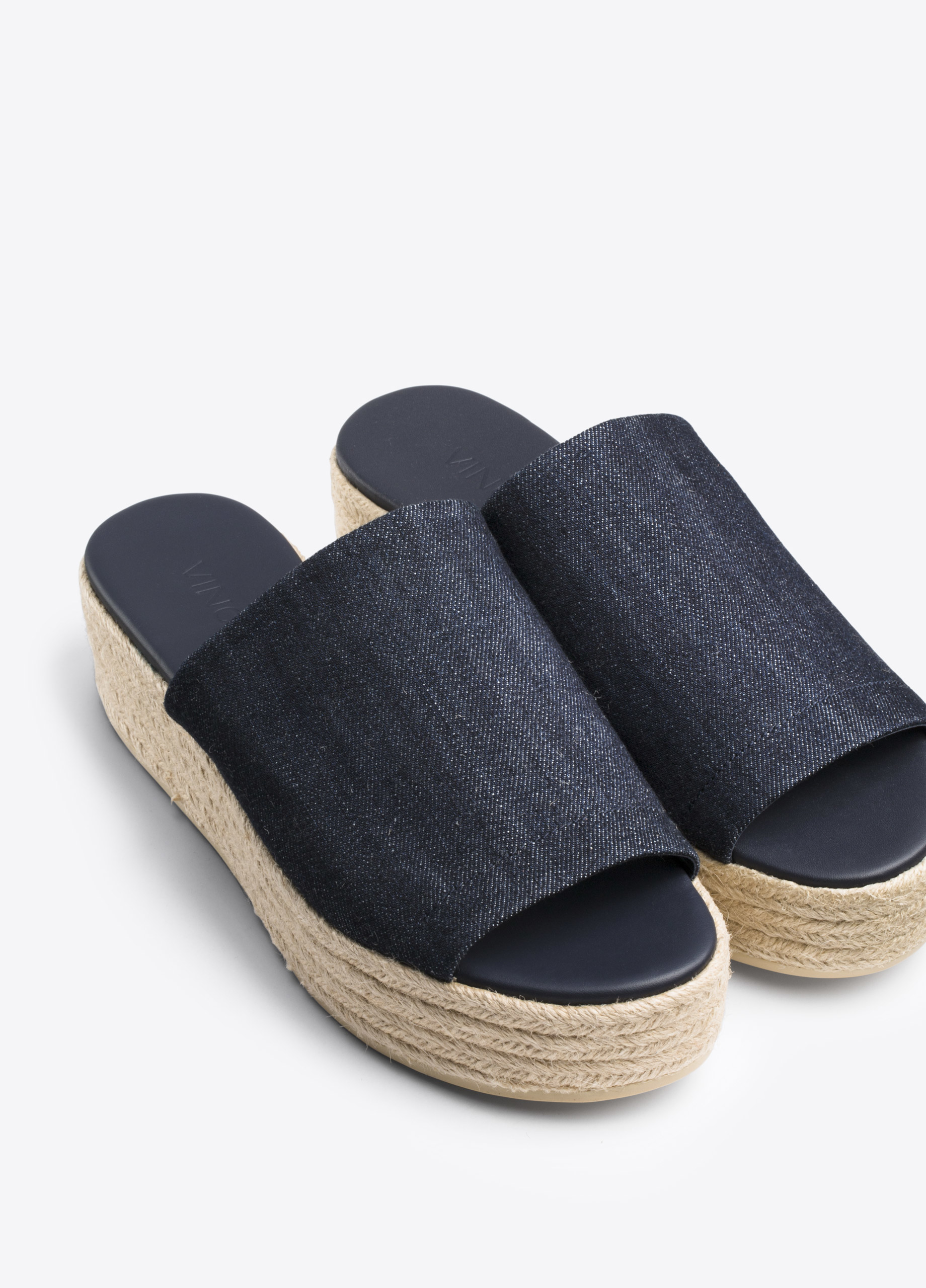 26f766c8f9a3 Vince Solana Denim Espadrille Flatform Sandal in Blue - Lyst