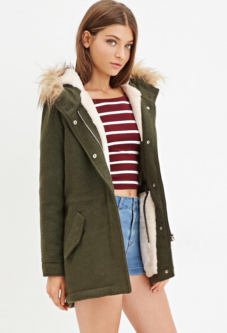 392ac3712 Forever 21 Plush Faux Fur Hood Coat in Green - Lyst