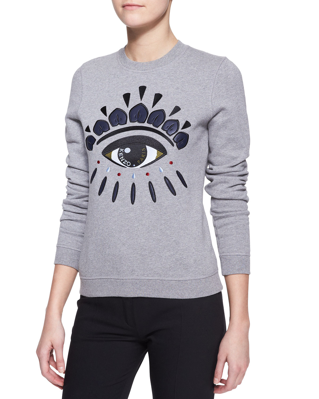 64ffc075968 KENZO Embroidered Cotton Eye Sweatshirt in Gray - Lyst