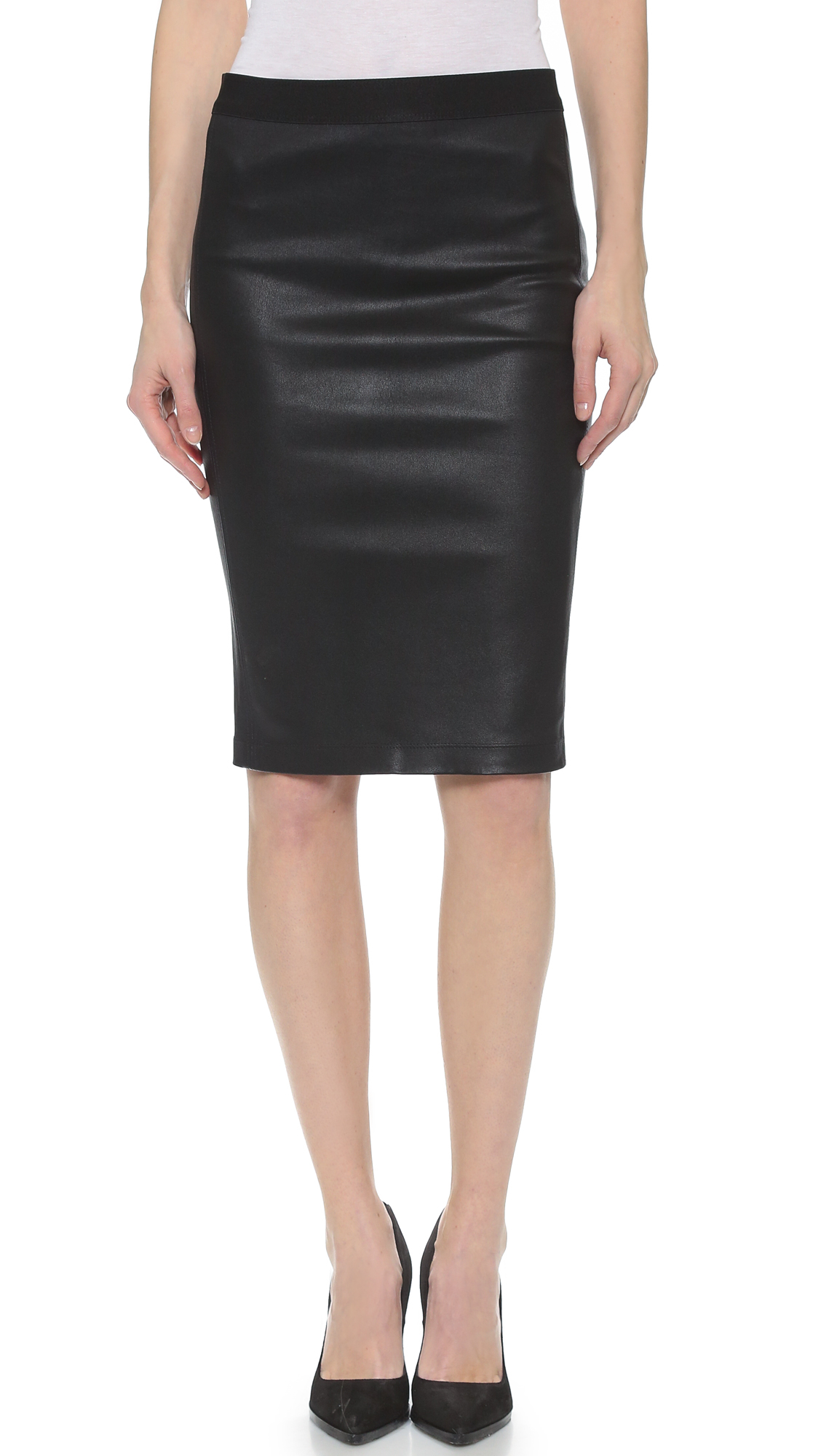 Helmut lang Stretch Leather Pencil Skirt - Black in Black | Lyst