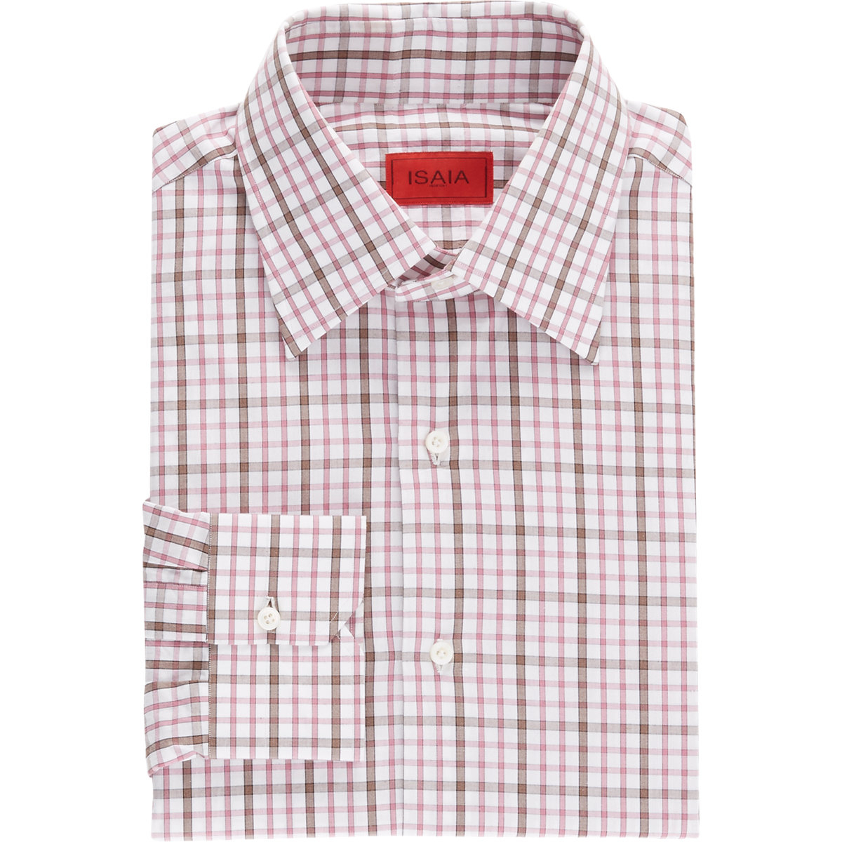 isaia windowpane plaid dress shirt in pink for men lyst