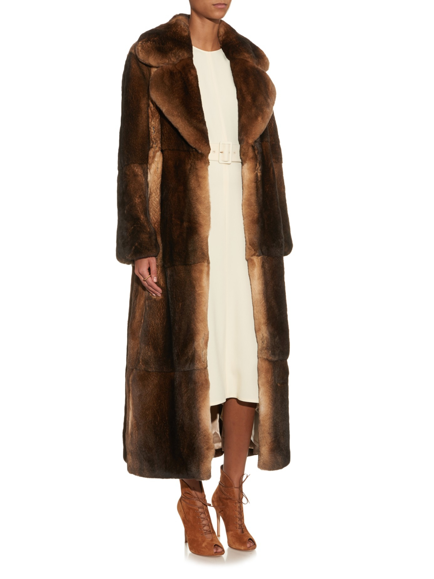 Adam lippes Long Rabbit-fur Coat in Brown | Lyst