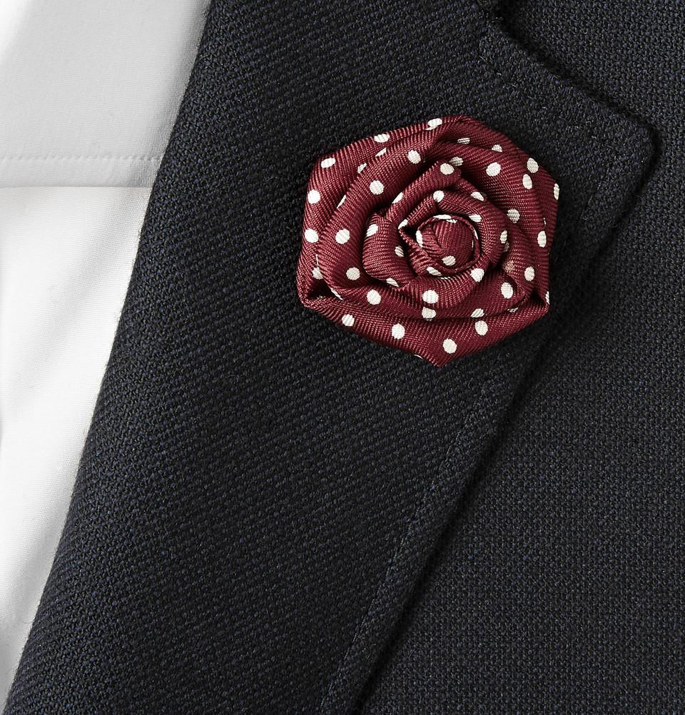 Lyst charvet dotted silkfaille lapel flower in red for men gallery mightylinksfo