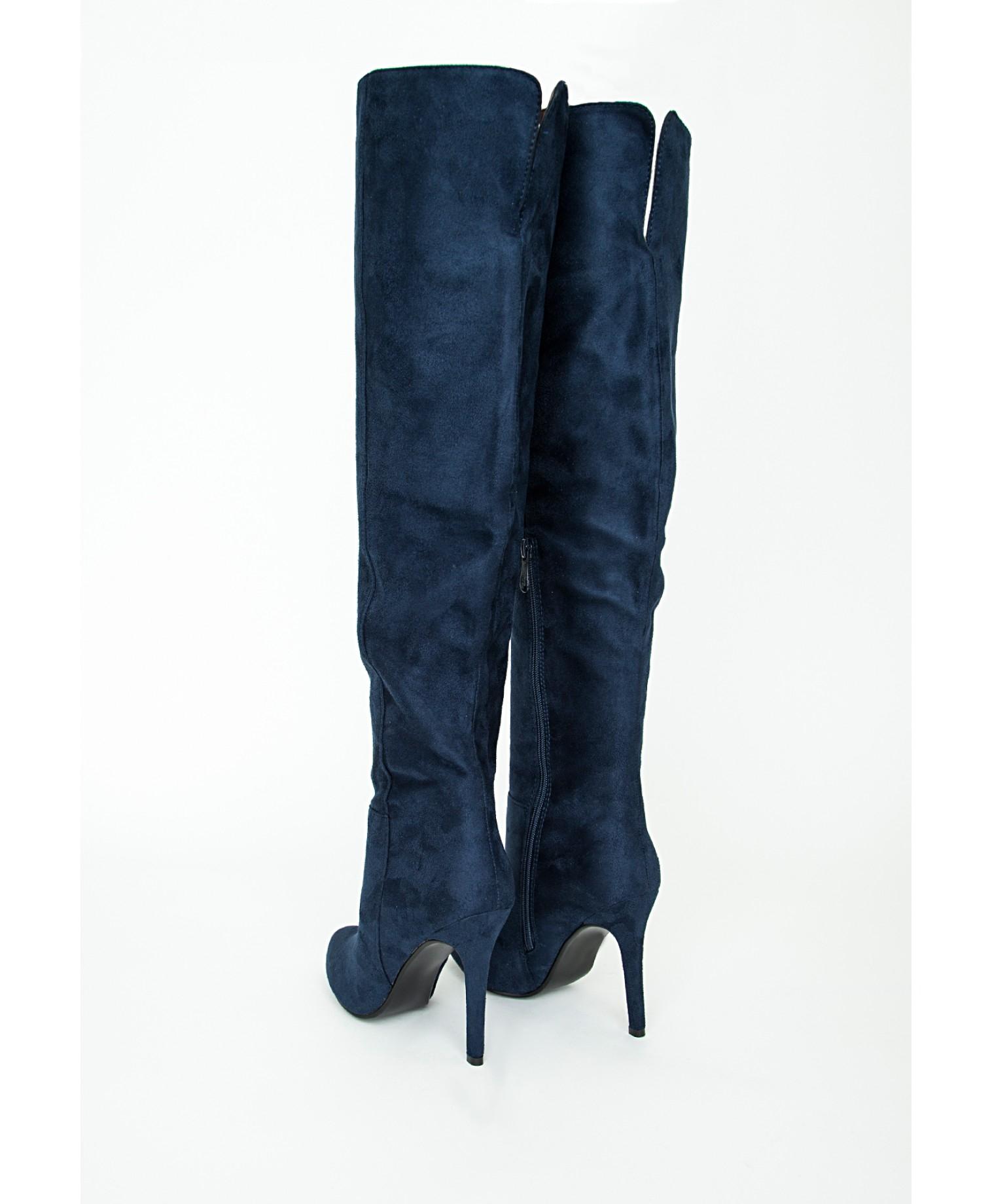 Navy Blue High Heel Boots | Tsaa Heel