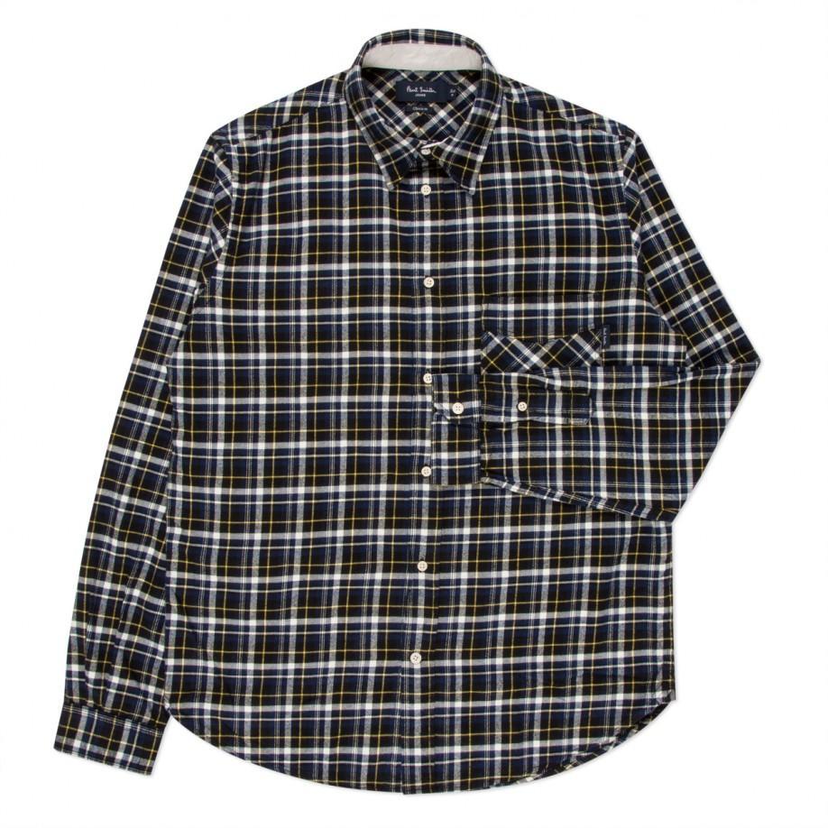 Lyst paul smith men 39 s black and navy plaid cotton blend for Mens black plaid dress shirt