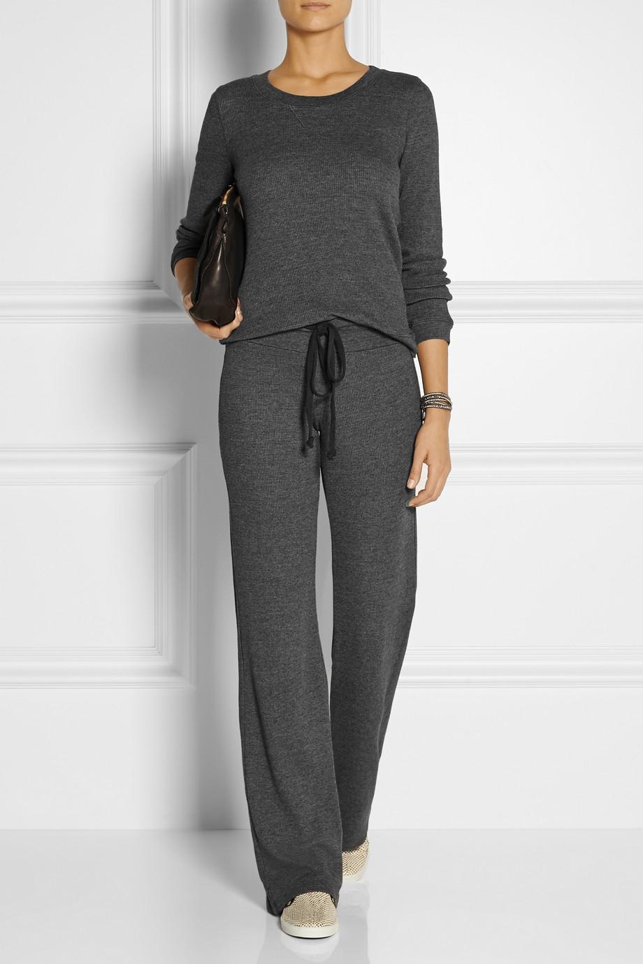 Splendid Waffle-Knit Stretch-Jersey Wide-Leg Pants in Gray | Lyst