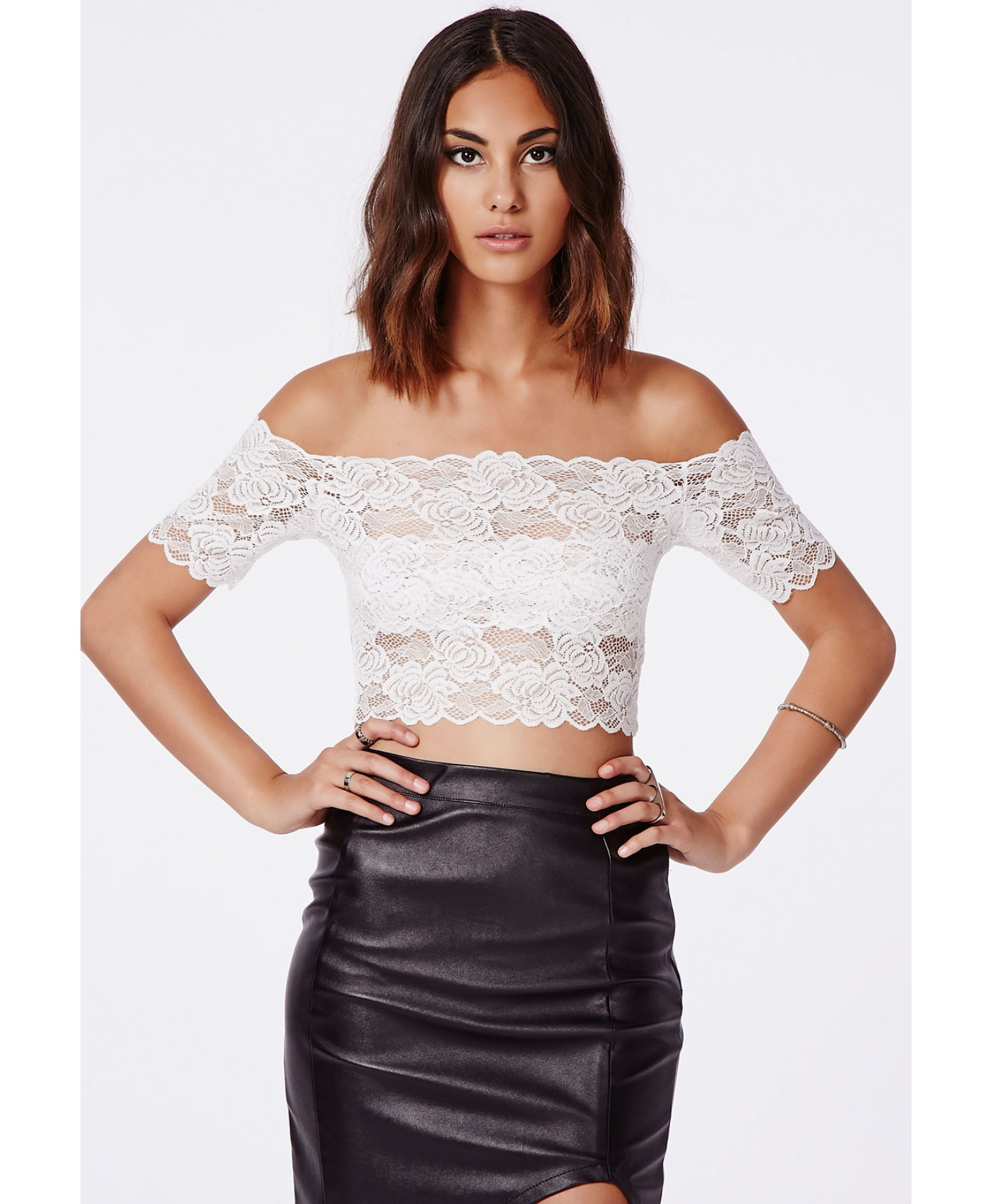 2b39bca2ef205c Missguided Telimesa White Bardot Lace Crop Top in White - Lyst