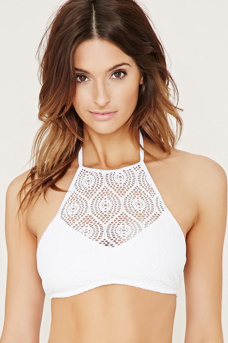 forever 21 crochet highneck bikini top in white lyst