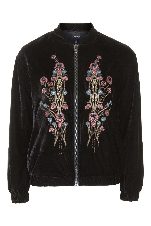 Lyst topshop velvet embroidered bomber jacket in black