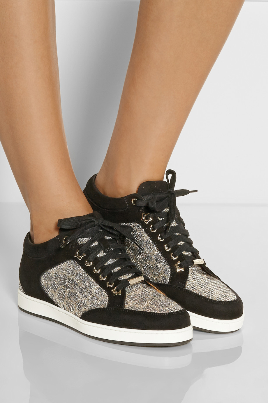 Jimmy choo Miami Suede & Glitter Sneakers FNvIvbo