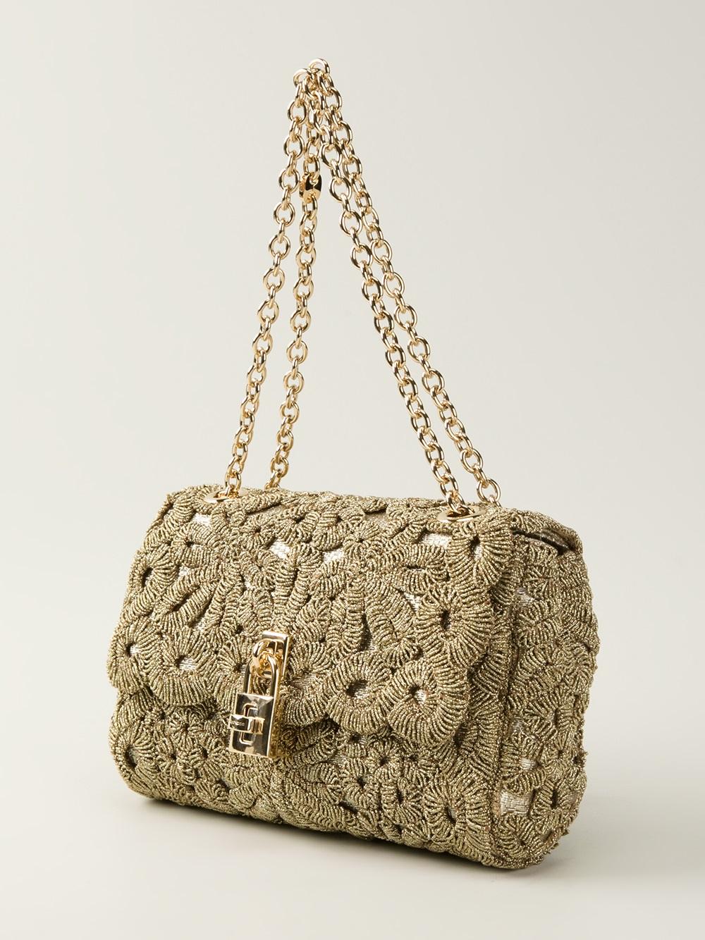 Lyst - Dolce   Gabbana Crochet Padlock Shoulder Bag in Metallic 26c82419f6