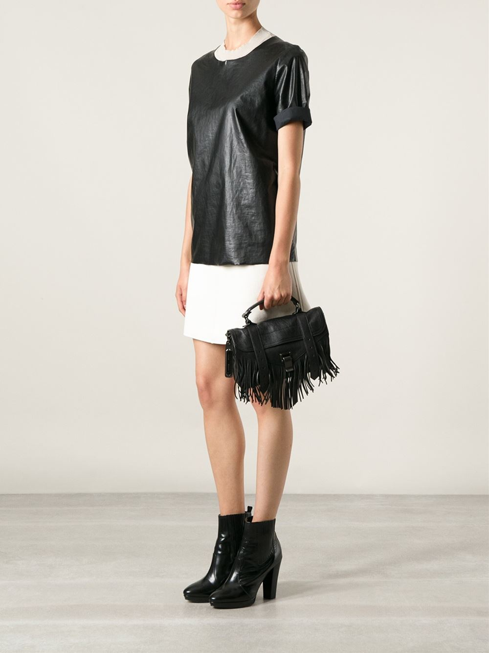 lyst proenza schouler tiny ps1 fringed satchel in black