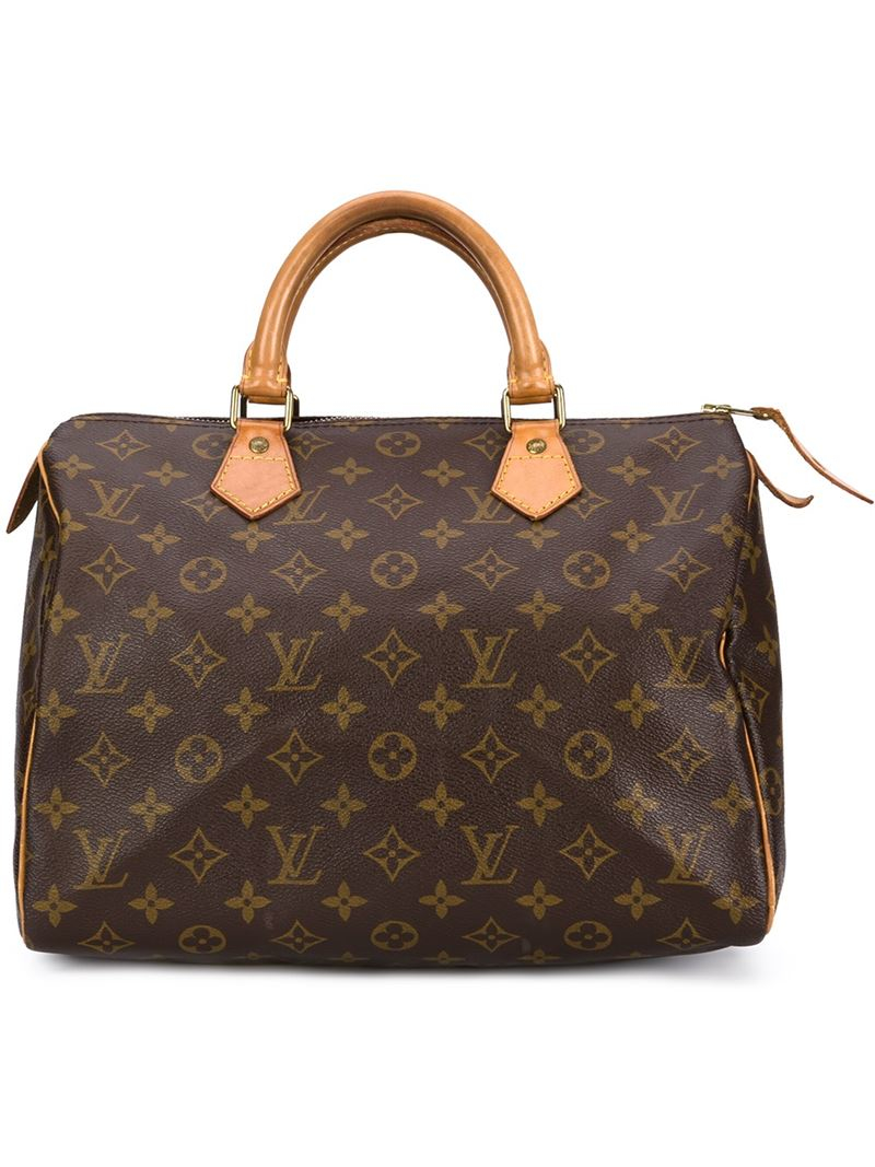 Louis vuitton speedy 30 tote in brown lyst for Louis vuitton miroir bags