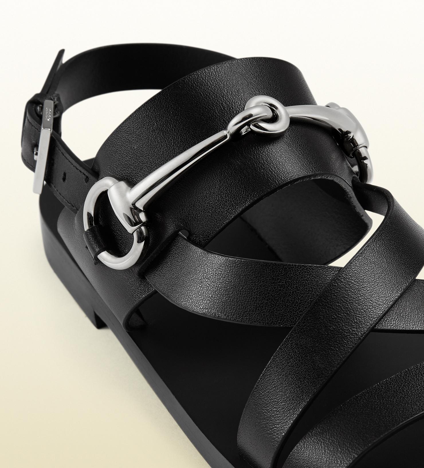 4b9352bd7 Gucci Leather Horsebit Sandals in Black for Men - Lyst
