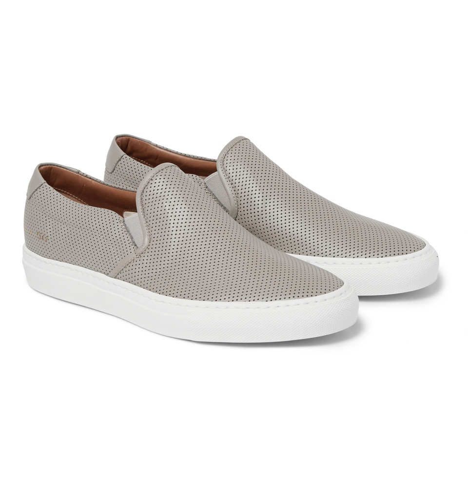 e24a4b56e673 Lyst - Common Projects Perforated Leather Slip-On Sneakers .