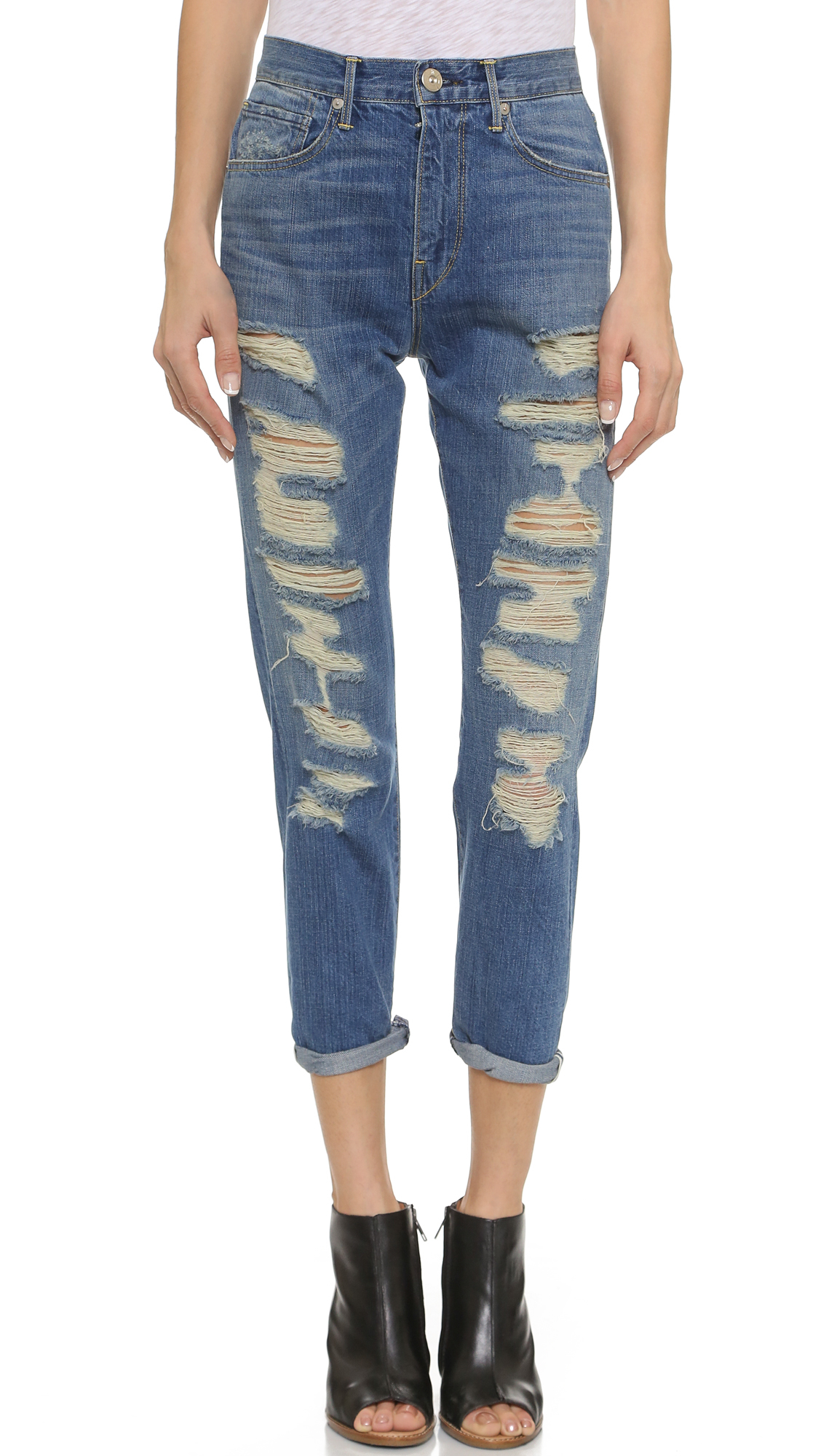 3x1 W4 High Rise Cropped Boyfriend Jeans - Hicks in Blue | Lyst