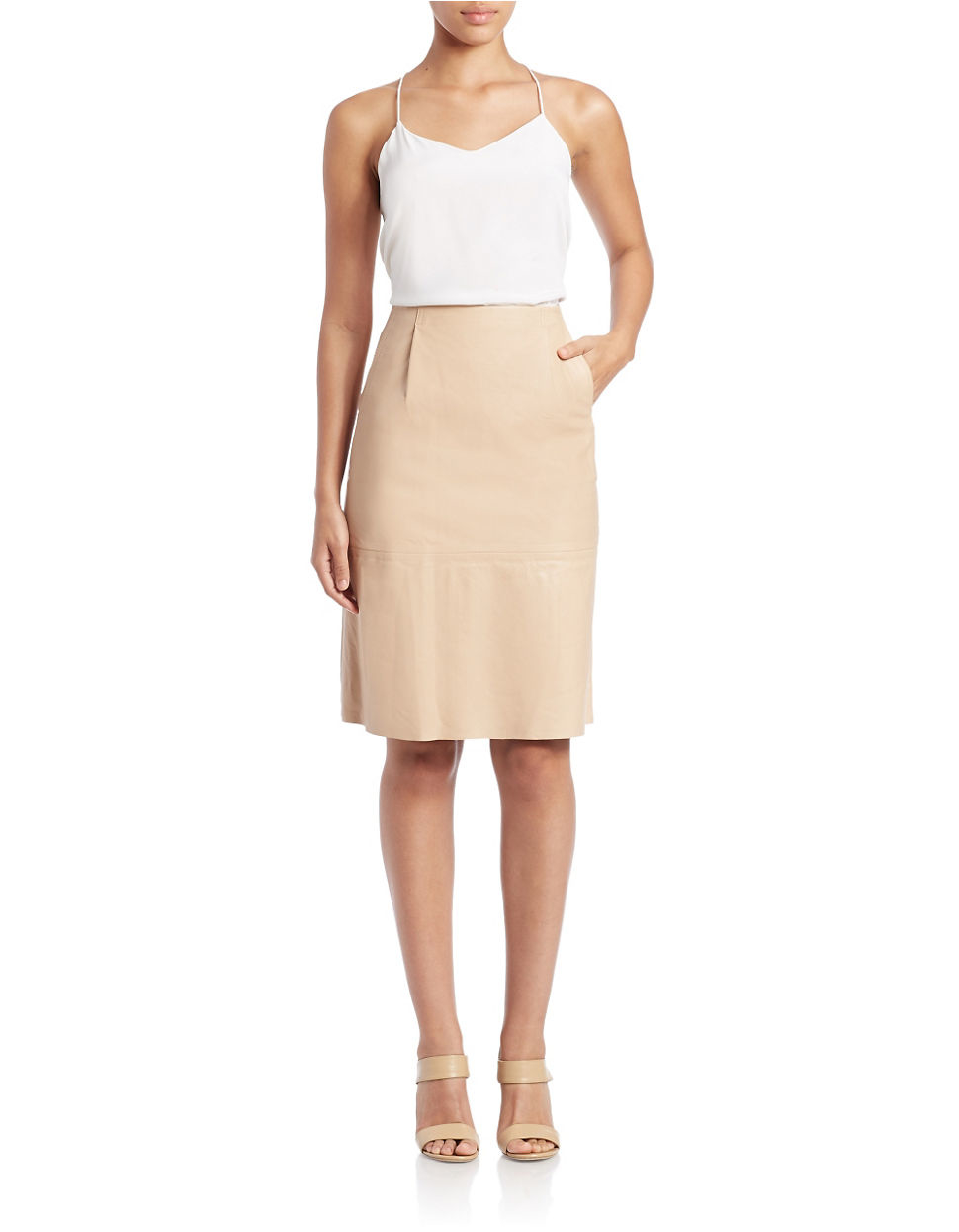 French connection Rocker Leather Pencil Skirt in Natural | Lyst