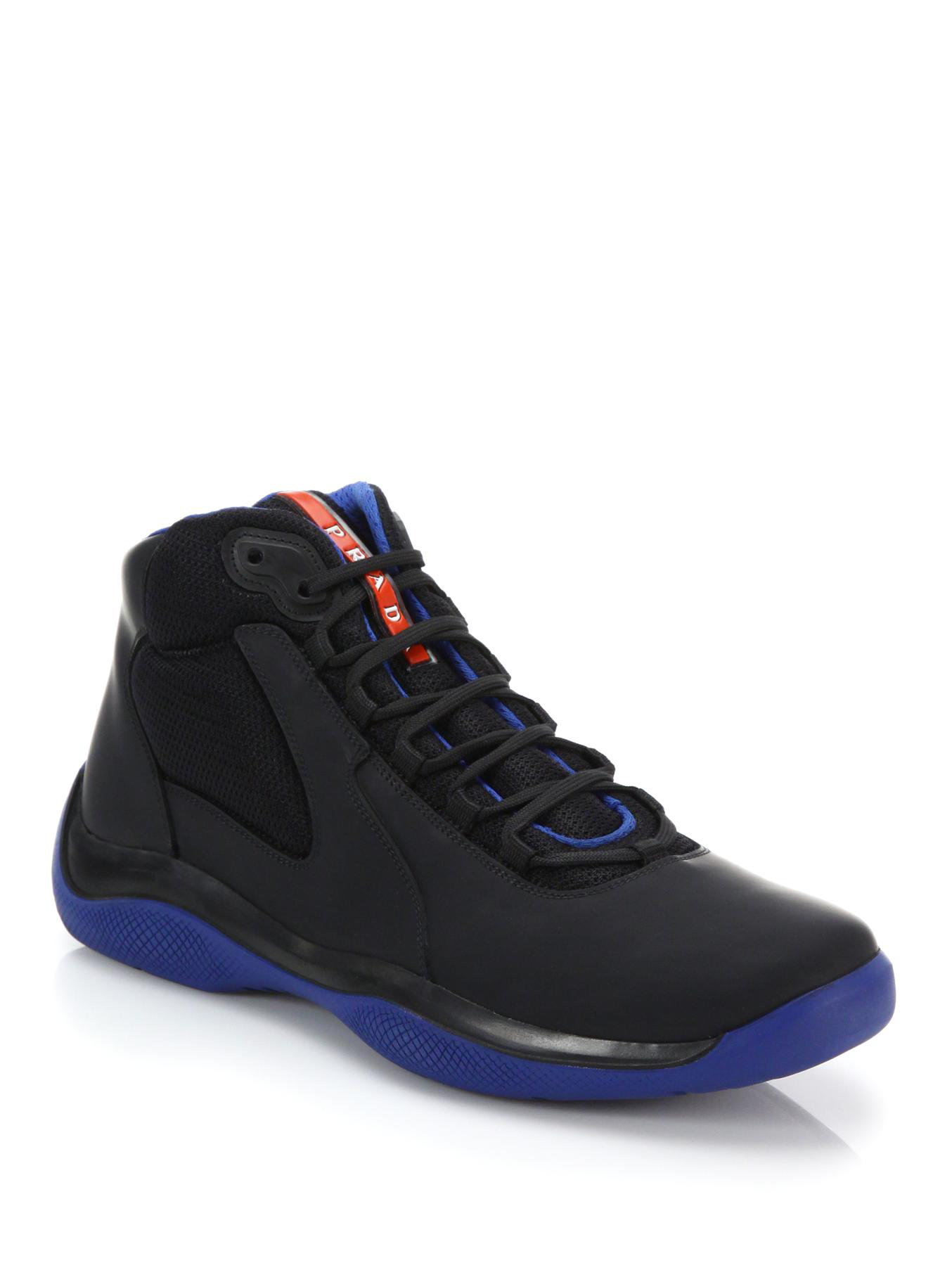 7c7a229387baf ... france lyst prada leather high top sneakers in black for men deee6 359e7
