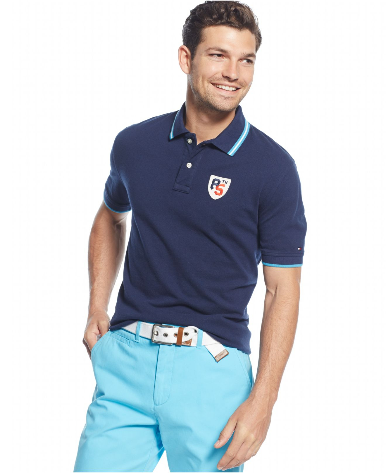 Tommy hilfiger toby classic fit polo in blue for men for Tommy hilfiger vintage fit shirt