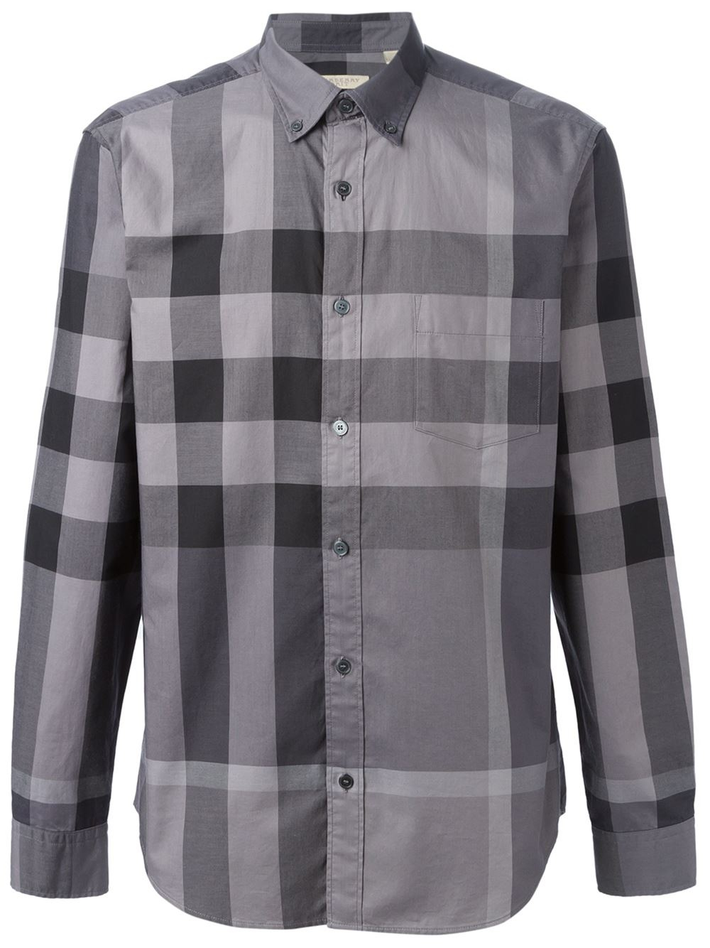 Burberry brit 39 fred 39 shirt in gray for men grey lyst for Where are burberry shirts made