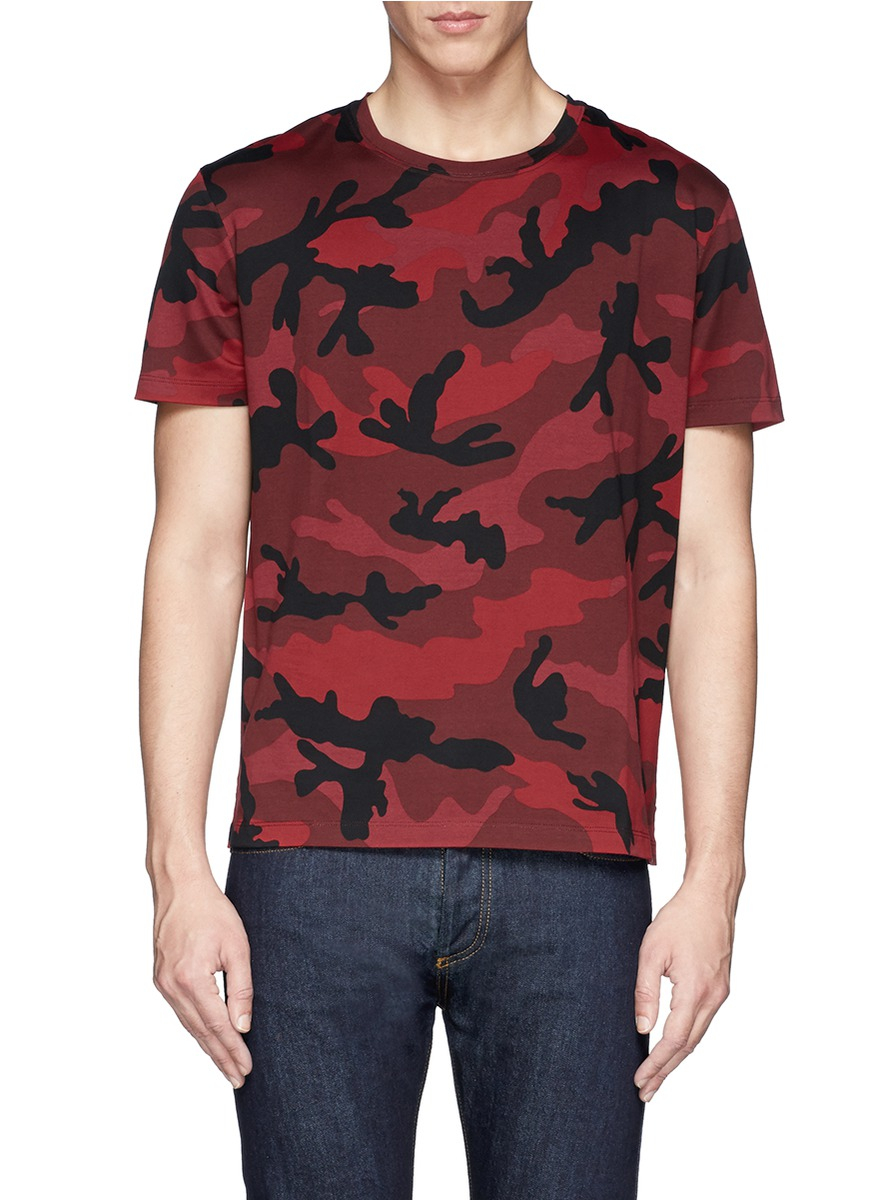 Valentino Camouflage T Shirt In Red For Men Lyst