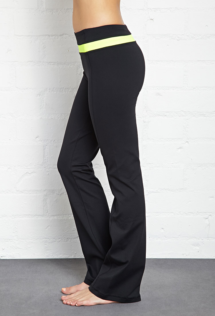 Forever 21 Colorblocked Fit & Flare Yoga Pants in Yellow | Lyst