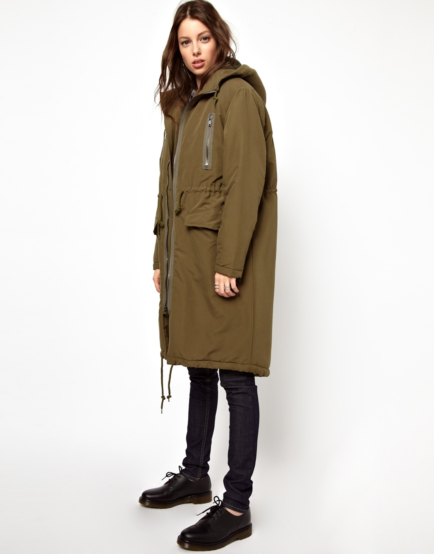 Cheap monday Parka in Green | Lyst