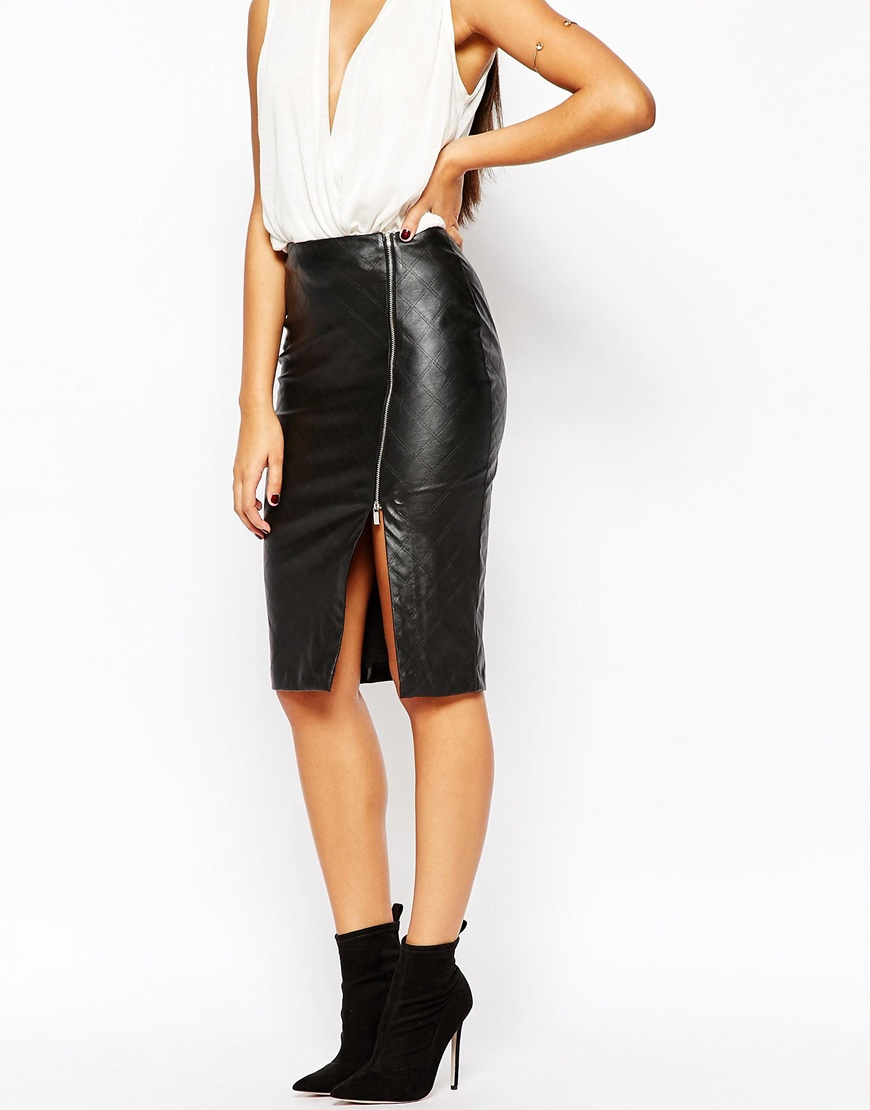 cf95a22cd6 Faux Leather Pencil Skirt With Split