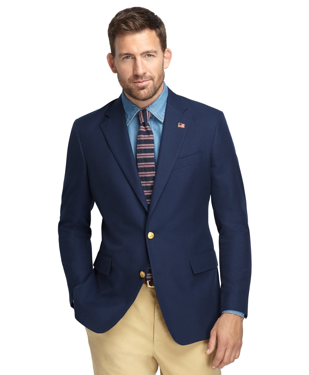 If the jacket is dark brown make sure the pants aren't also really dark blue or the combination will look muddled. If the jacket is lighter, more towards tan/khaki, then light blue can work since the colors stay separated even in lighter hues, but dark blue pants will work too.